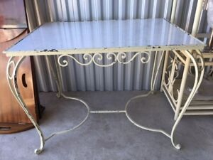Iron with granite top side table