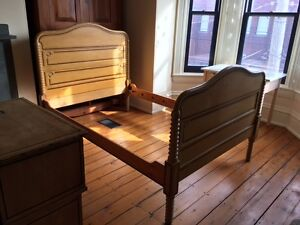 antique bed frame and matching stand