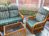 Free to collect - Conservatory Furniture - 2 x chairs, 2 seater sofa and glass topped coffee table