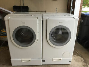 """BOSCH 27"""" WHITE ELECTRIC FRONT LOAD WASHER & DRYER FOR SALE"""