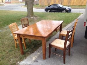 Pine Harvest Table and Four Chairs 40x71