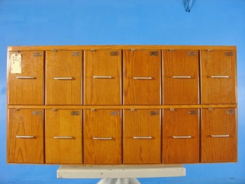 Vintage Wooden Locker with 12 drawer