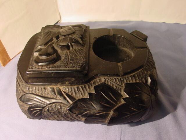 Vintage Estate Find Carved Lava Or Coal Ashtray Cigarette Box Match Holder