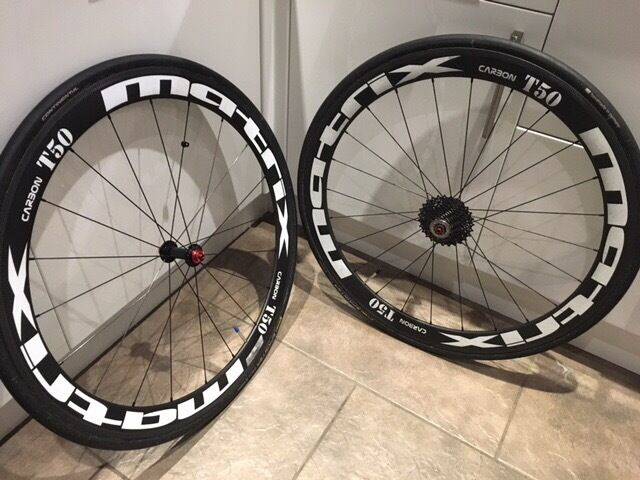 Matrix T50 carbon tubular wheels with tyres. Wheels used rarely so very good condition