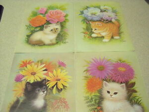 4 Vintage K. Chin Kitten and Flowers Prints
