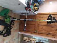 Heavy duty Florabest strimmer, petrol can, harness, helmet and ear-protection and spare strim-wire
