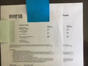 2 Tickets for Shaw Festival & Queen Regent B&B FOR TONIGHT $440