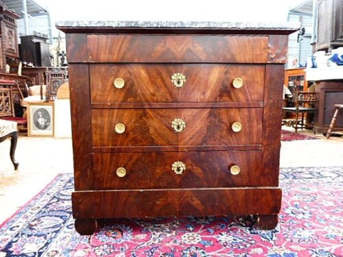 French Antique Marble Top Mohagany Dresser / Commode (C431)