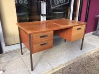 Retro double pedestal teak office desk