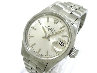 Auth ROLEX Oyster Perpetual Date 6519 Silver 830111 Women