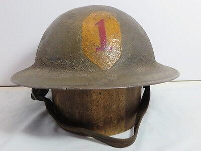WW1 US Army Painted 1st Division Helmet Nice Original Vintage Helmet Big Red One