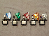 12V 20A SAFETY COVER LED TIP ROCKER SWITCHES ON/OFF MANY COLORS