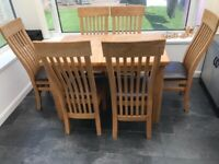 Extending Beech table and 6 chairs