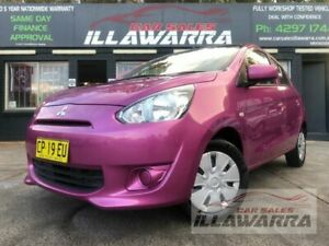 2013 Mitsubishi Mirage LA ES Pink 5 Speed Manual Hatchback Barrack Heights Shellharbour Area Preview