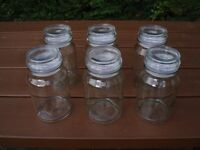 SET LARGE STORAGE JARS x 6 , AIR TIGHT LIDS
