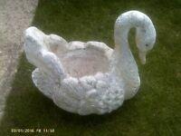 Concrete heavy white swan ornament