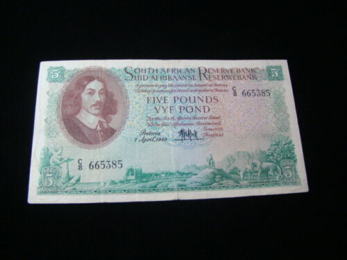 South Africa 1949 5 Pound Banknote VF Pick #94