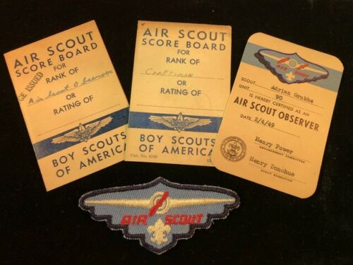 Boy Scout Air Scout Badge, Observer Card & 2 Score Boards 1949