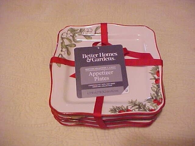 Better Homes & Gardens Heritage Square Christmas Appetizer Plates Set of 4 Cake