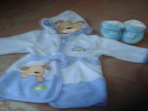 (MAGOG) Robe de chambre avec pantouffle bébé garcon 0-9 Mois