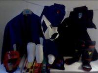 Martial Arts Kit -Red Headguard, Blue/Black Gi Outfits, Groin Guard, Shin & Instep Guards, Handwraps