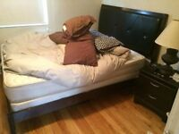 Queen Wooden Bed Frame, Bed, and Box Spring. Quality.