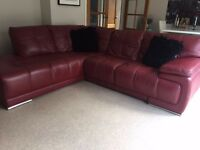 Leather Corner settee Deep Red/Maroon