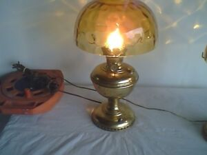 Antique Brass Oil Lamp Electrified with Amber Shade