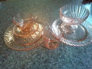 NEW PRICE Set of Arcoroc Dishes made in France Pink SwirL London Ontario image 1
