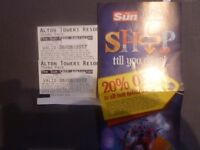 TWO ALTON TOWERS TICKETS FOR SUNDAY 6TH AUGUST 2017 ADMITS ADULT OR CHILD