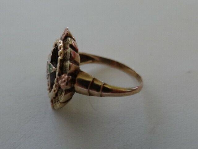 Vintage  Order Of Eastern Star 10K Gold Enamel Ring