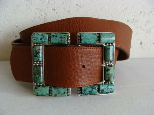 LEATHEROCK SAN DIEGO WIDE TAN LEATHER BELT SILVER & TURQUOISE BUCKLE 32 / S