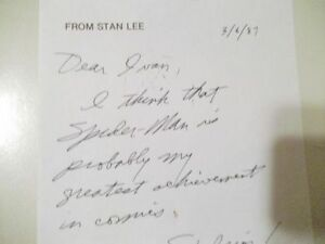 Stan Lee in his own words and on his own Marvel stationery signe Cornwall Ontario image 4