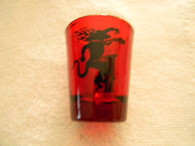 "Fireball Shot Glass- red shot glass with logo on one side and ""F"" on the other"