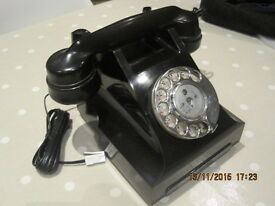 2 Black 'Antique' Bakelite Telephones - Converted and Working