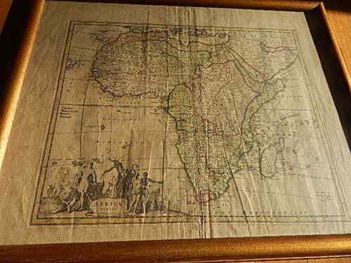 1720 ILLUS WEIGEL AFRICAE TABULA MAP/AFRICA FAIR CONDITION W FRAME INTNL SALE