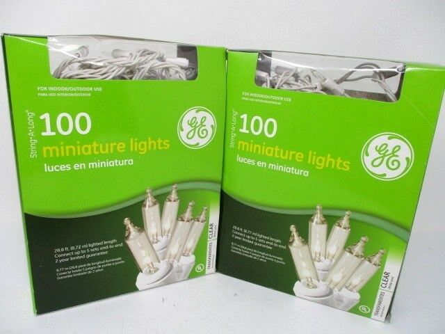 Lot of 2 GE 100 Clear Indoor Outdoor Mini Lights New In Boxes