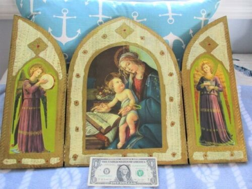 Near Mint Enormous Tole Wood Italian Florentine Madonna Triptych Angels Icon