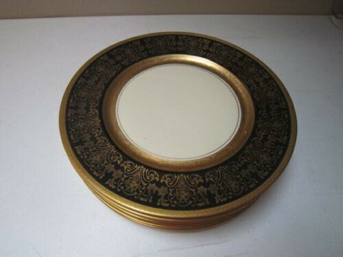 "Six Antique H&C Selb Bavaria Heinrich & Co ""Pickard"" Gold Encrusted Dinner Plate"