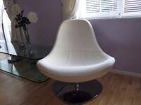Ikea Tirup, white/cream Leather Swivel Chair, Good Condition