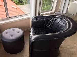 Free Black Leather One Seater Armchair / Sofa Oyster Bay Sutherland Area Preview
