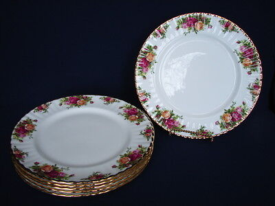 "6 Vintage Royal Albert OLD COUNTRY ROSES 10.5"" Dinner Plates ENGLAND 1st Mark"