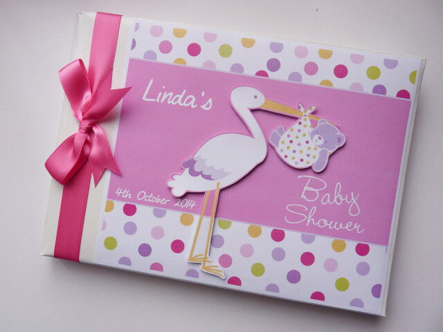 Personalised stork baby shower guest book, girl