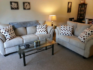 Beige Microfiber Couch and Love Seat-Moving Sale
