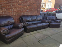 italian leather 3 seater and 2 chairs good condition can deliver local to blackpool.