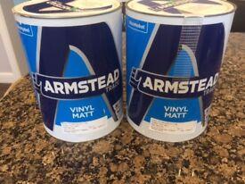 TWO - Armstead 5 Litre, Vinyl Matt Finish Paint, Nutmeg White