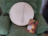 """Bodhran drum 16"""" with tutor book & cd and beater"""