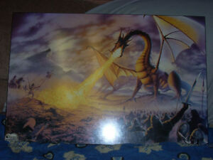 "Steve Read Dragon Battle 36"" x 25.375"""