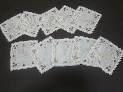 10 Vtg Antique FAUNA  Coasters Doilies~ Ecru Linen Tatting~Embroidery~Drawn work