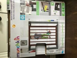 Munchkin wood and steel baby gate (brand new- never used)